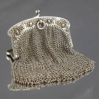 """Antique French Sterling Silver Mesh Purse, Two Compartments, """"Roses"""" Pattern"""