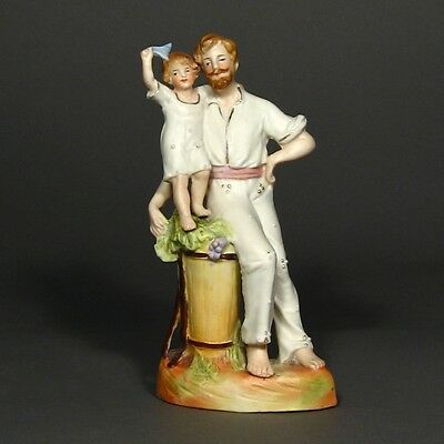 Vintage English Painted Biscuit Figurine, Grape Harvester with his Son