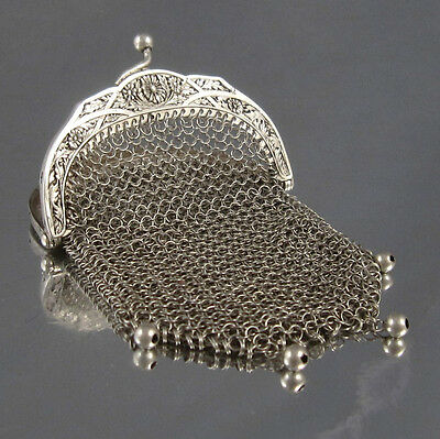 """Antique French Silver 800-1000 Mesh Purse, Two Compartments, """"Daisies"""""""