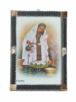 Beautiful Painting – Ethiopian Coffee Ceremony – Glass and Leather Frame