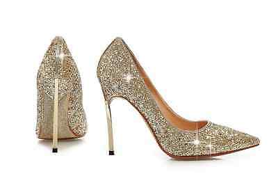 lady shoes point toe stiletto sexy single shoes night club sequins  Gold US7