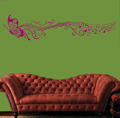 Music butterfly wall decal sticker Home art Decor VINYL removable ROSE RED