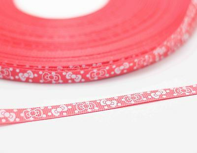 New charm 3/8 (10mm) bow print polyester texture 20yards ribbon red w