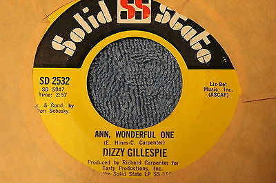 """DIZZY GILLESPIE The Windmills Of Your Mind / Ann, Wonderful One 7"""" 45 SOLID STAT"""
