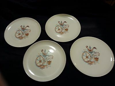 """S/4~Retro~Taylor Smith & Taylor~Weather Vane~10"""" Dinner Plates~Rooster~Primitive"""