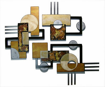 HUGE Textured Geometric 3pc Abstract Wood & Metal wall Sculpture Hangings 55x48
