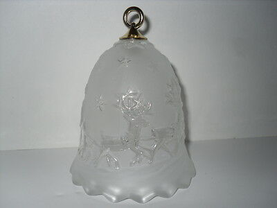 """Mikasa Crystal Silent Night Christmas Bell 5 """" Reindeer Sleigh Frosted Stars"""