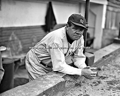 BABE RUTH - 8x10 Photo - in NEW YORK YANKEES VINTAGE JERSEY UN SIGNED PICTURE 05