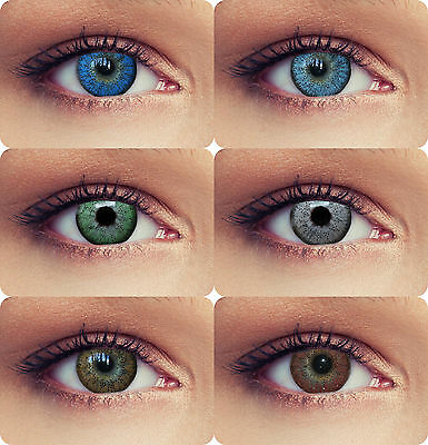 """2 natural colored lenses with power blue green grey months lenses """"Natural"""""""