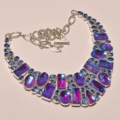 BEAUTIFUL FACETED FIRE TOPAZ 150 GRAM .925 SILVER NECKLACE 31