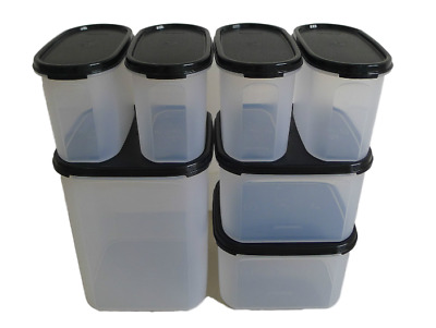 New Tupperware MM Modular Mates Essential Set Black Oval Square 7 pieces Variety