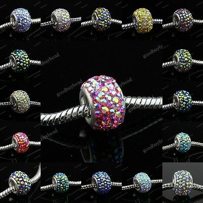 925 Silver 24 Vivid AB Colors Czech Crystal Findings European Charm Beads 12mm