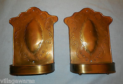Pair of Old Brass Wall Planters or Sconces