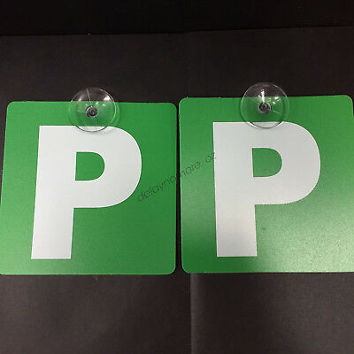 "2 x Green ""P"" Plates Plastic With Stay-Put Suction Disks VIC,WA ~Free Delivery~"