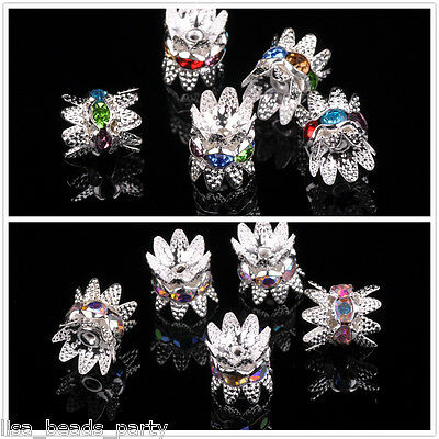 Bulk 10mm Silver Plated Crystal Glass Rhinestone Flower Loose Spacer Cap Beads