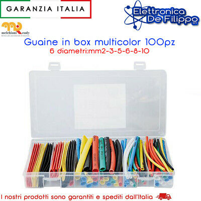 Kit Assortito Di Guaine Termorestringenti Multicolor 100 Pezzi Gt/1000 Vari Colo
