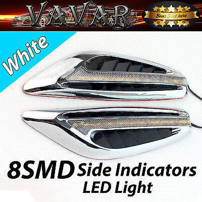 2x White 8 LED Auto Side Indicators turn Signal Panels lights Car Styling