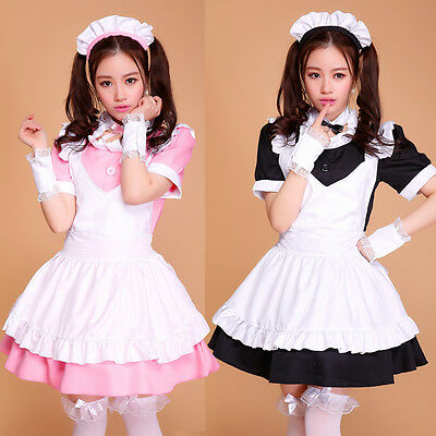 6pcs Cosplay Lolita Maid Outfit Sexy Dress Party Set apron French Costume 2015