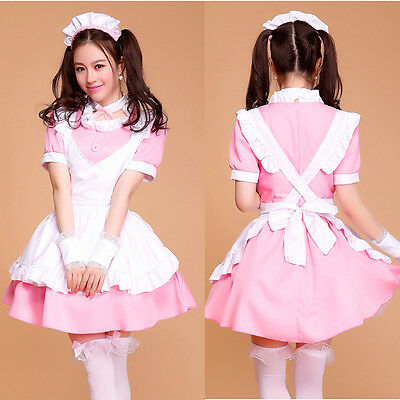 6pcs Pink Cosplay Lolita Maid Outfit Sexy Dress Party Set apron French Costume