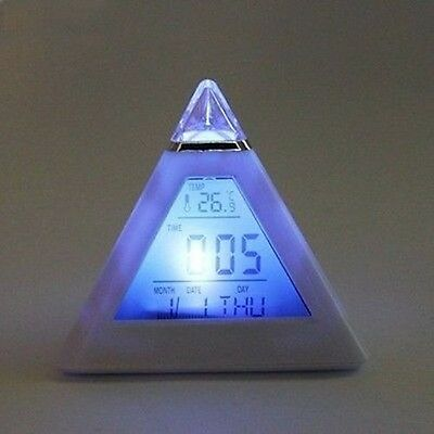 New 7 LED Changing Color Pyramid Digital  LCD Alarm Desk Clock W/Thermometer