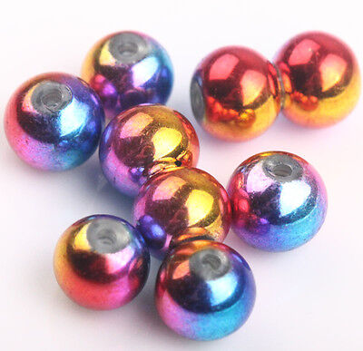 50Pcs Mixed Five Color Round Glass Beads Beautiful Charms Jewelry Making 6mm #2