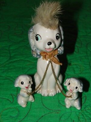 Vintage Ceramic Figurine Poodle with 2 Puppies made in japan
