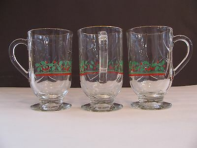 Lot Of 3 Libbey Christmas Holiday Decorative Pedestal Glasses Cups Festive Holly