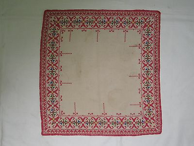 Beautiful Vintage Hand Embroidered Linen Tablecloth