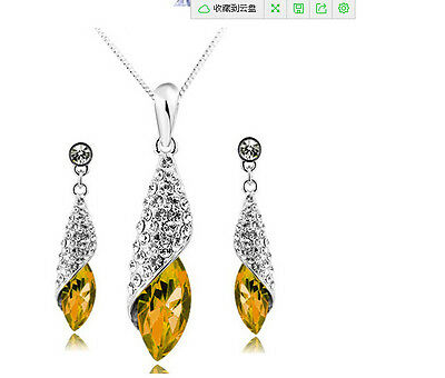 2pcs newest fashion design silver plated yellow necklace earring jewelry sets