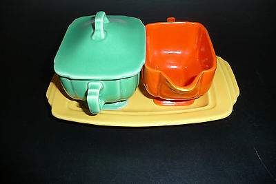 ART DECO FIESTA WARE RIVIERA GREEN ORANGE SUGAR BOWL & CREAMER NESTING SET