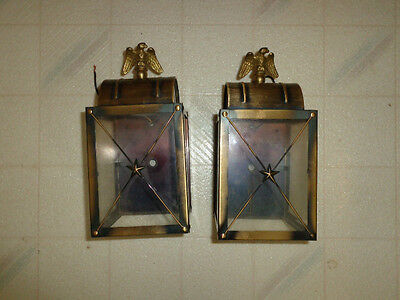 Vintage Brass Outdoor Exterior Light Lantern with Eagle Finial Sconce