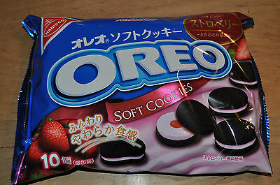 """NABISCO """"OREO Rich Strawberry, Soft Cookies"""" Japan, Chocolate, 10 pc in one pack"""