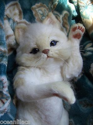 NEEDLE FELTED WEIGHTED WHITE / BUFF KITTEN CAT~ OOAK BY ARTIST