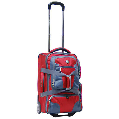 "20"" Rolling Carry on Luggage Wheeled Duffel Bag Backpack Travel Suitcase - Red"