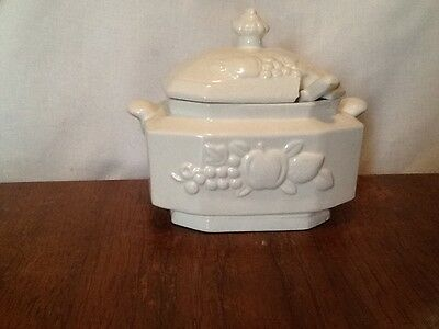 Small White Tureen With Ladle Made In Japan With Raised Fruit Pattern