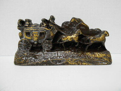 Vintage Cast Iron Door Stop Stage Coach Horse Ye Old Stage Coach Pained Brown