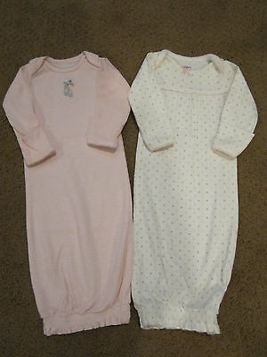 Carter's Baby Girl Long Sleeve Pink/White Gowns, Set of 2, Newborn