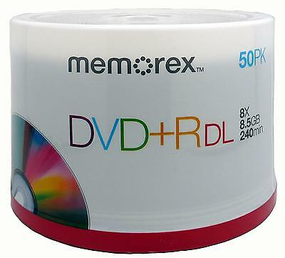 50 Memorex branded DVD+R DL 8X 8.5GB 240 minute New(FREE PRIORITY MAIL shipping)