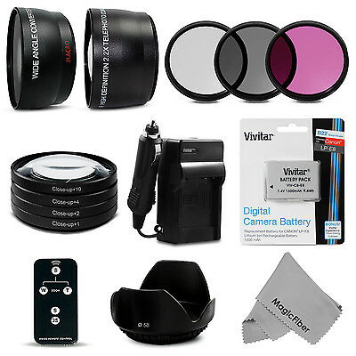 58MM Lens Filter Set & Battery Travel Kit for Canon EOS Rebel T5i T4i T3i T2i