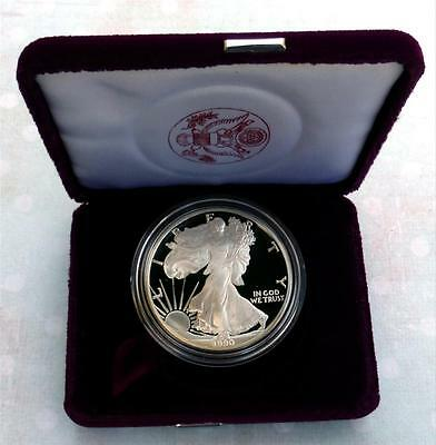 1990 S PROOF Silver Eagle DEEP CAMEO PRISTINE GEM ASE BOX  Nice WOW Coin