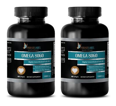 Pure Omega-3 Fish Oil 1500mg Highly Concentrated EPA DHA 120 Softgels 2 Bottles