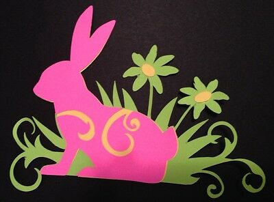 Easter Rabbit In Grass Die Cut Embellishment Handmade With Card Stock