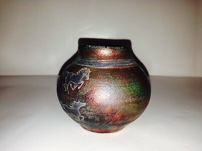 RAKU J. DILLER SIGNED 2005- EQUESTRIAN HORSES MULTI COLORED POTTERY