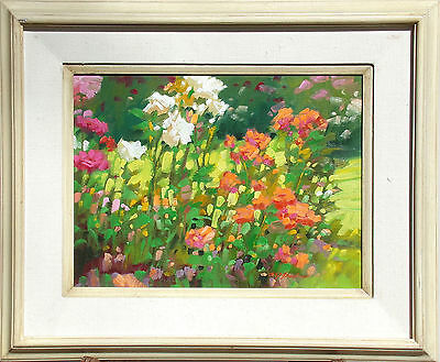 "Kim Mackey ""Park Roses"" Hand Signed Original Oil Painting on board, floral, OBO!"