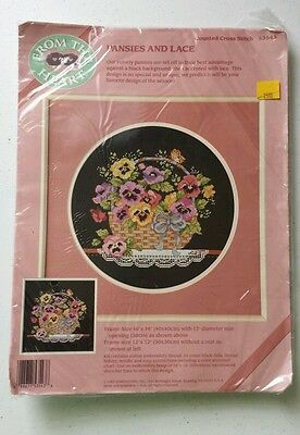 Dimensions From The Heart PANSIES AND LACE Basket Counted Cross Stitch Kit 53543