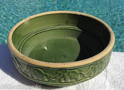 OLD MCCOY DOG BOWL DISH WITH ELEPHANTS GREEN OR PLANTER ART POTTERY  VINTAGE