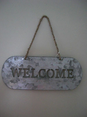 """country primitive rustic galvanized metal """"welcome"""" sign new"""
