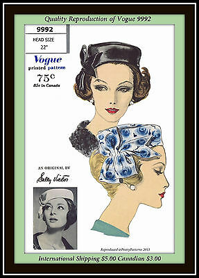 SALLY VICTOR Vogue 9992 SEXY Vtg PILL BOX Millinery HAT Fabric Sewing Pattern