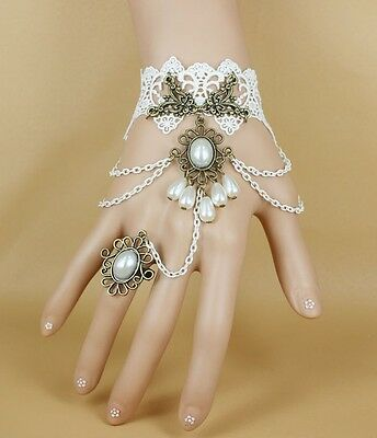 Halloween Party Sexy Gothic Lolita Flower Lace pearl Bracelet Ring vintage style