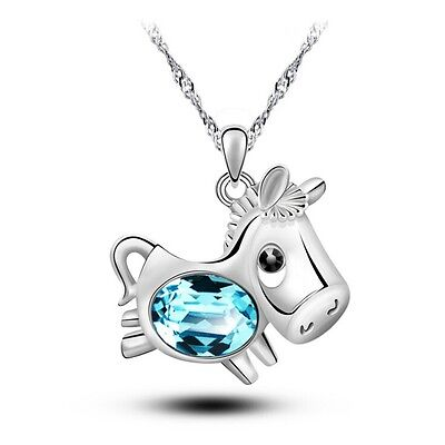 Free Shipping Womens 9K White Gold Filled Horse Shape Necklace & Pendant J-G122